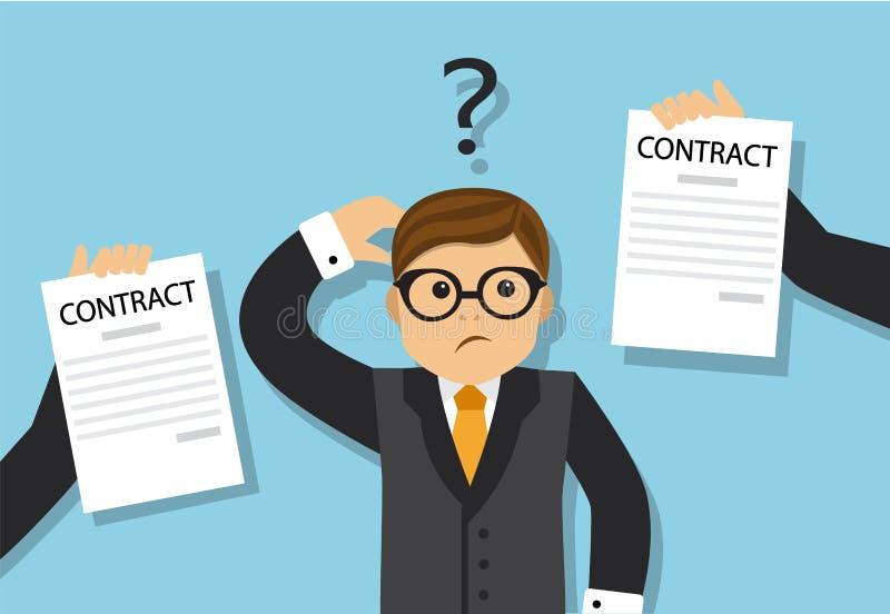 Businessman chooses a profitable contract vector illustration