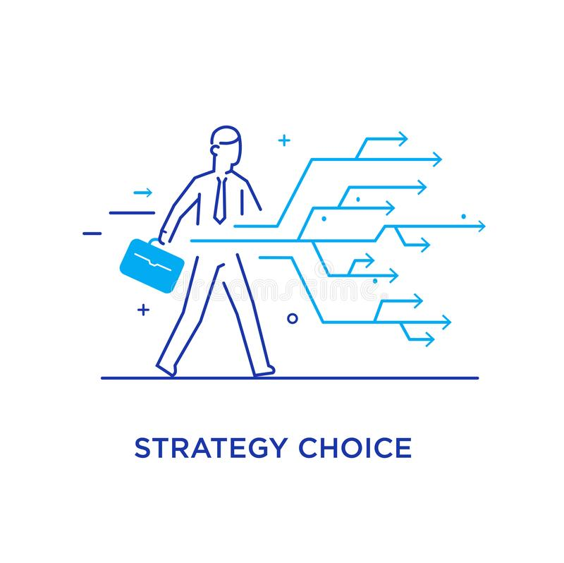 Businessman chooses the right path. Success, career. Line icon illustration. Businessman chooses the right path. Vector illustration Eps10. Success, career. Line royalty free illustration