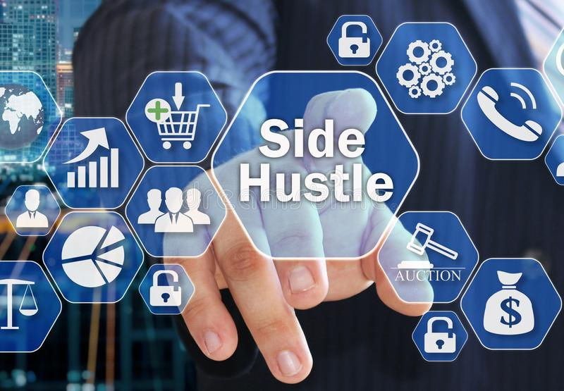 The businessman chooses the Side Hustle on the virtual screen i royalty free illustration