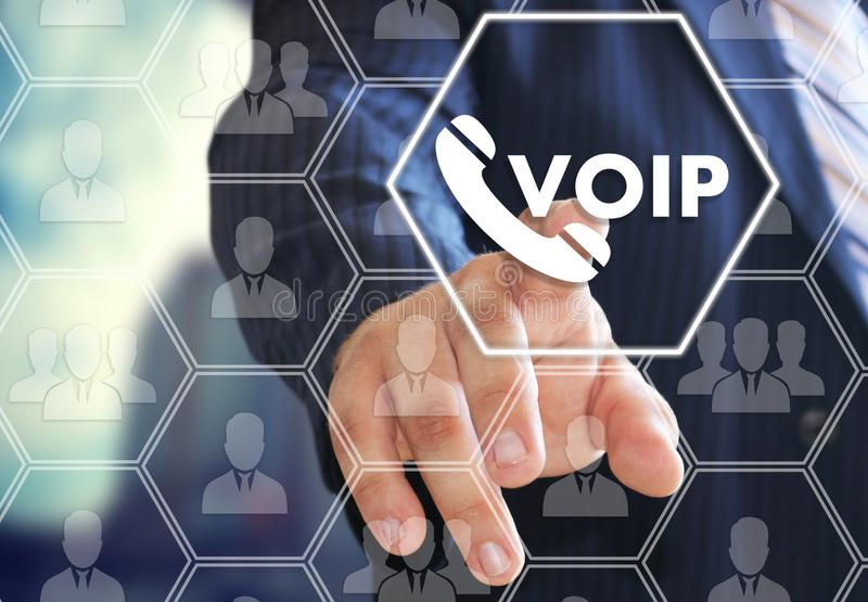 The businessman chooses VOIP on the virtual screen in social network connection vector illustration