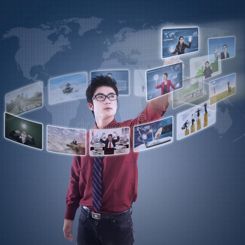 Businessman choosing his partner on modern interface royalty free illustration