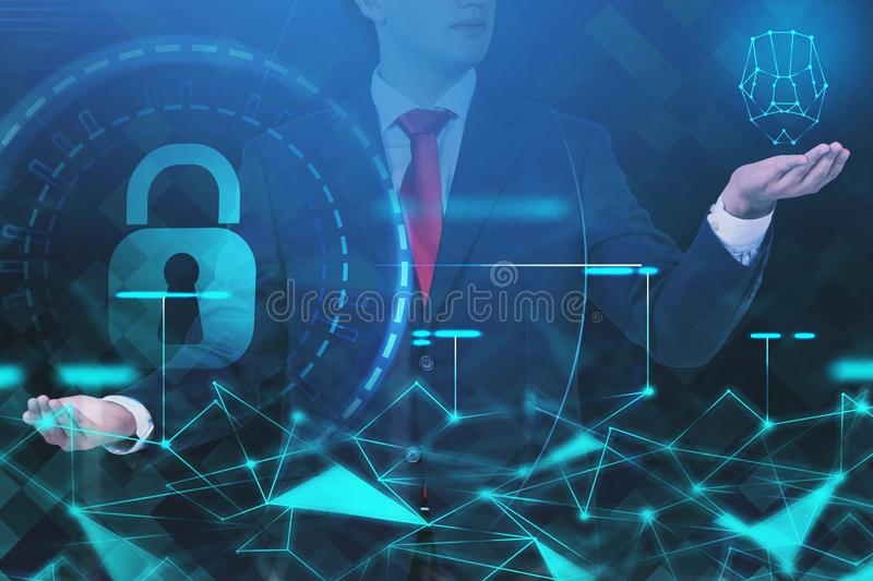 Businessman choosing online security interface. Unrecognizable young man in suit choosing online security HUD interface. Concept of digital technology and data stock image