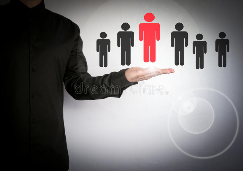Businessman choosing right partner from many candidates. Cloud and application software icons royalty free stock photo