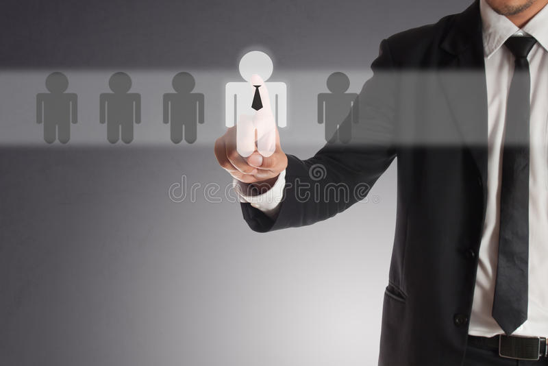 Businessman choosing right partner from many candidates. Concept of teamwork stock images