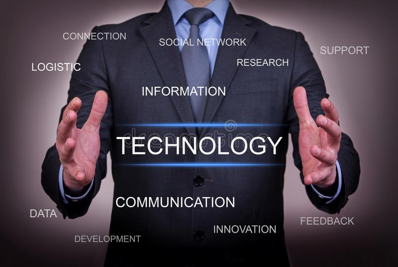 Businessman Chose Technology. Work on visual screen businessman stock images