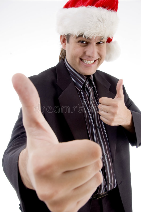 Download Businessman In Christmas Hat Wishing Goodluck Stock Image - Image: 6978359