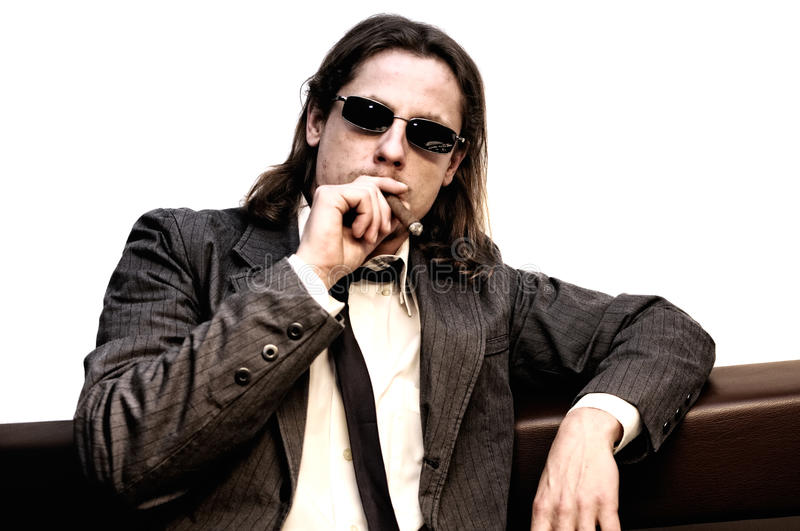 Download Businessman with cigar stock photo. Image of male, jacket - 18022690
