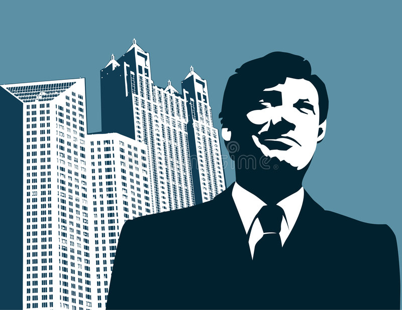 Businessman in a city. Vector illustration of a businessman and tall office buildings
