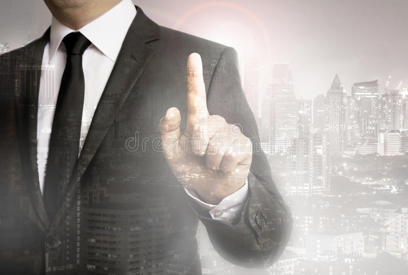 Businessman with city background template concept royalty free stock photo