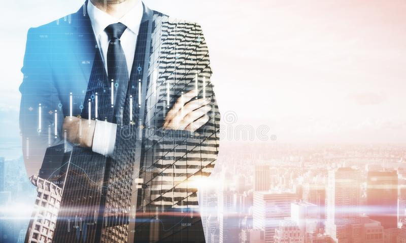 Businessman in city stock images