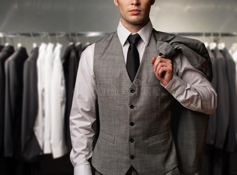 Businessman in a shop stock photo