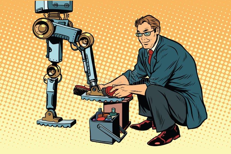 Businessman cleans shoes robot. Evolution and the technological revolution. Pop art retro vector illustration royalty free illustration