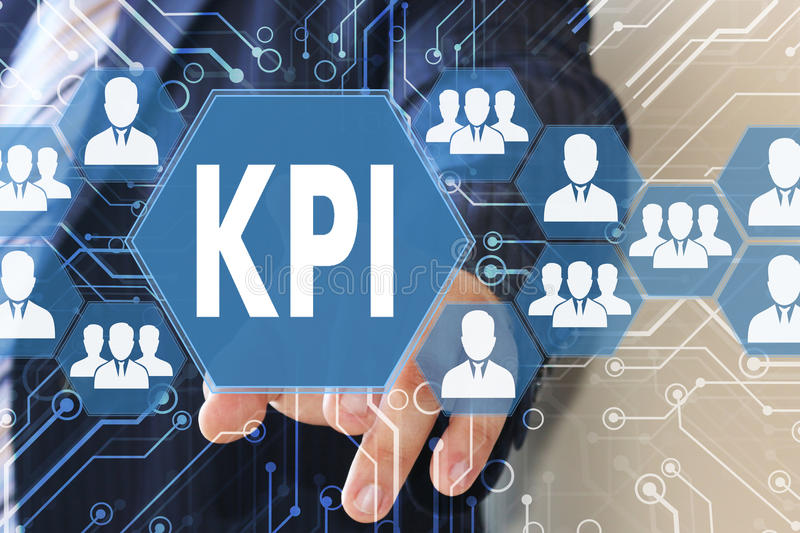 The businessman clicked the button KPI. Key performance indicator on the touch screen with a futuristic background stock images