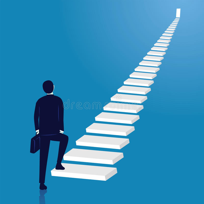 Businessman climb success ladder. Open door on top royalty free illustration