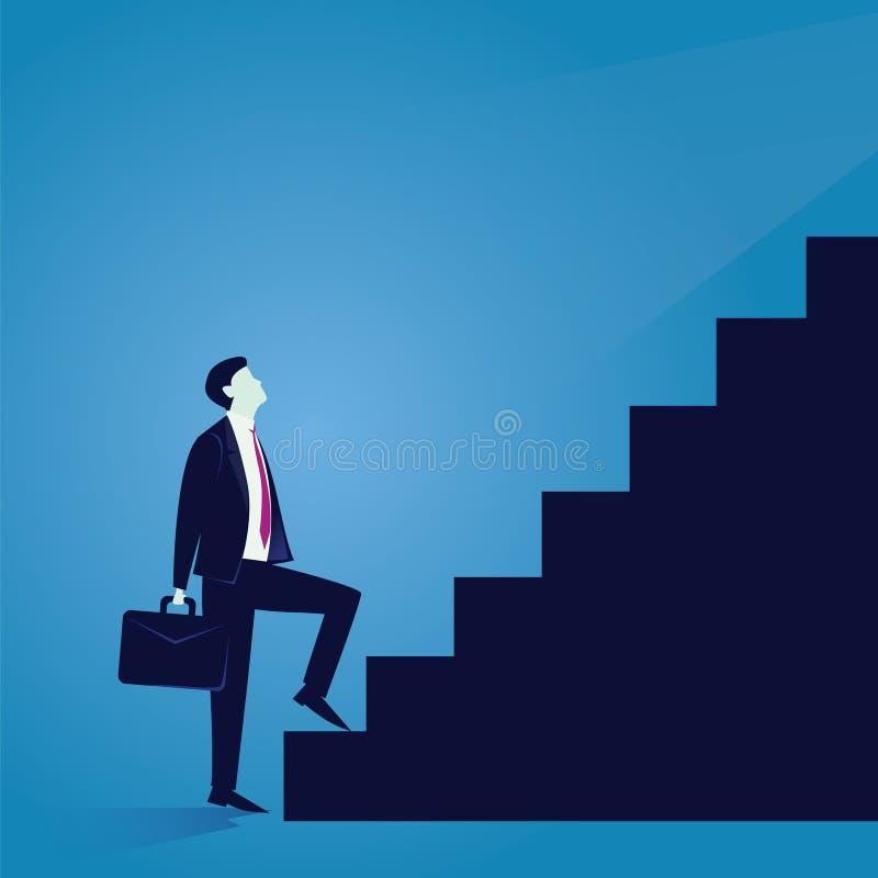 Businessman climb success ladder. Vector illustration. Business journey concept. Future success. first step. Businessman start climbing stair for success career vector illustration