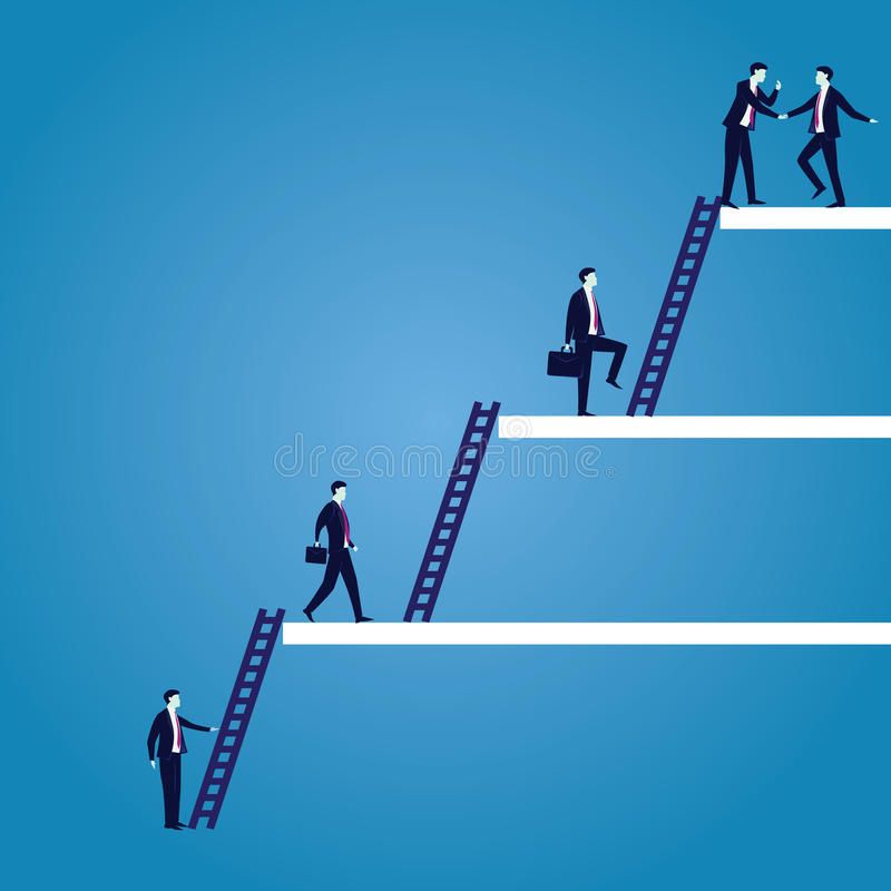 Businessman climb success ladder. Vector illustration. Personal career development concept. Future success. first step. Businessman start climbing stair for vector illustration