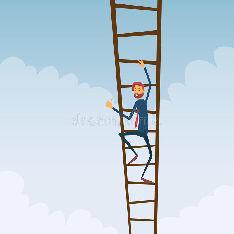 Businessman Climb Up Ladder Stairs, Concept stock illustration