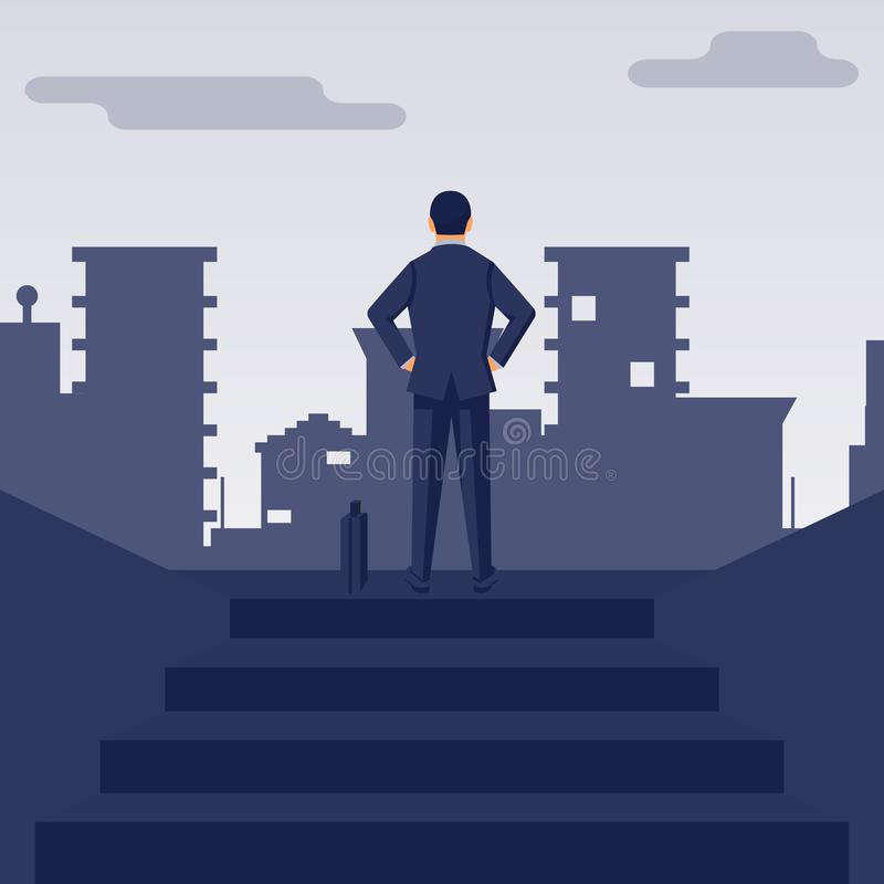 Businessman climbed up the stairs stock illustration
