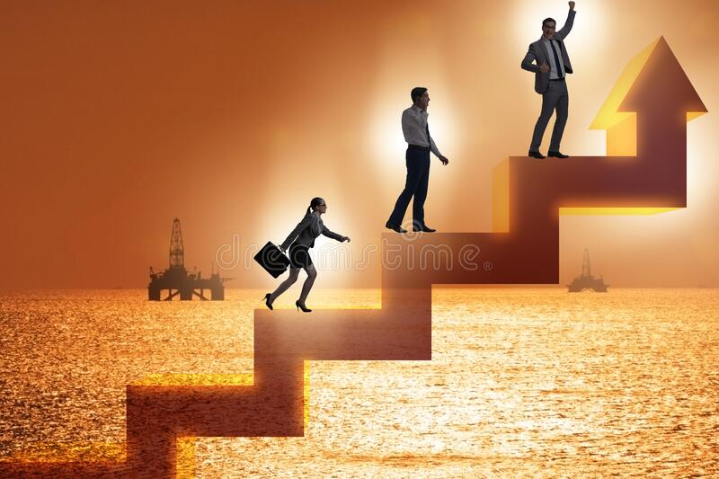 Businessman climbing bar charts in growth concept stock images