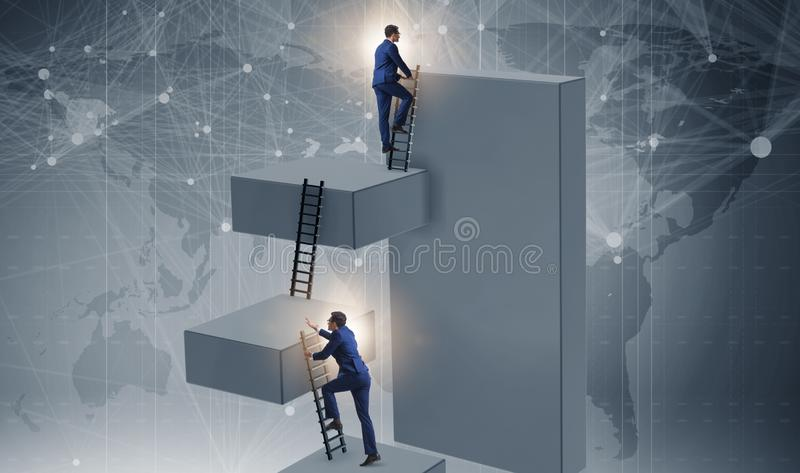Businessman climbing blocks in career ladder business concept stock photos