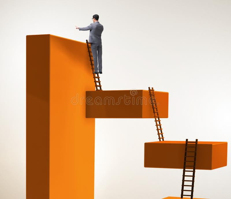 Businessman climbing blocks in career ladder business concept. The businessman climbing blocks in career ladder business concept royalty free stock photo