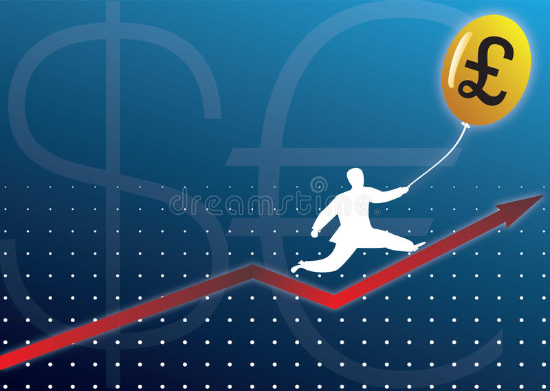 Businessman Climbing Graph With Currency Baloon Royalty Free Stock Photos