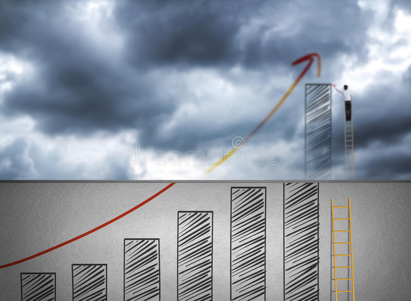 Businessman climbing ladder drawing growth chart on cloud royalty free stock photo