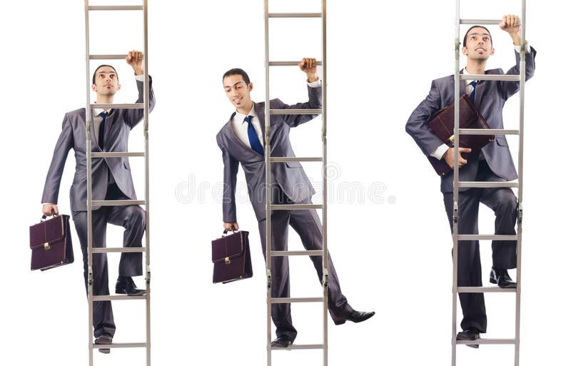 The businessman climbing the ladder isolated on white. Businessman climbing the ladder isolated on white stock photo
