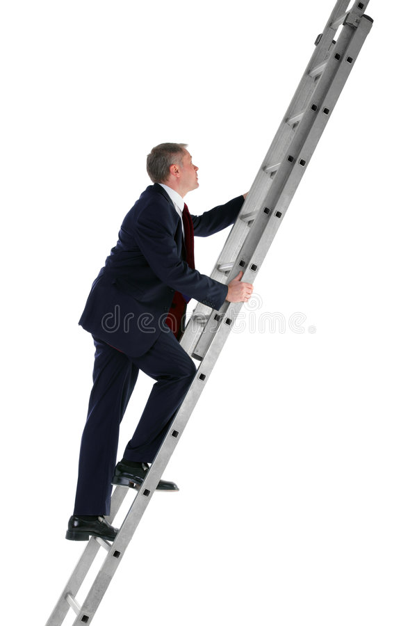 Businessman climbing ladder side view stock photos