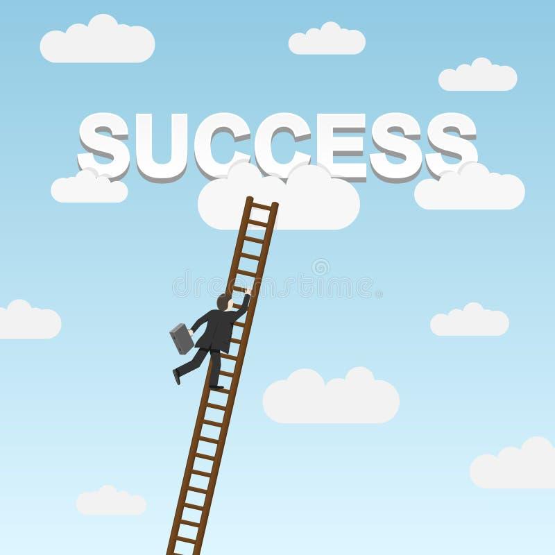 Businessman climbing ladder to Success. Vector illustration royalty free illustration