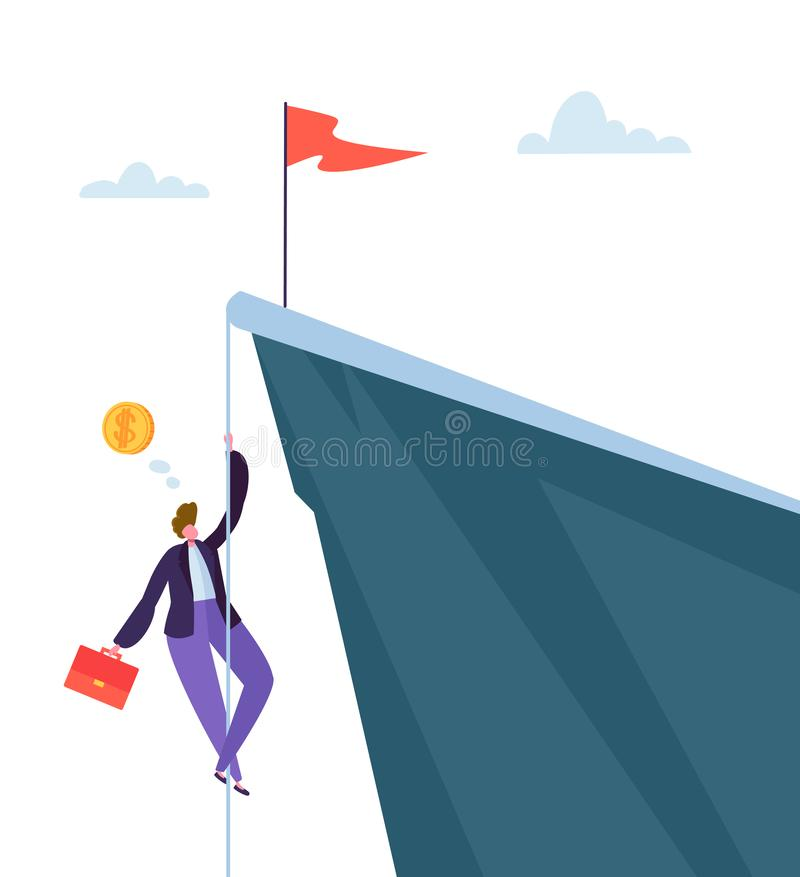 Businessman Climbing on Peak of Mountain. Business Character Trying to get Top. Goal Achievement, Leadership, Motivation. Concept. Vector illustration vector illustration
