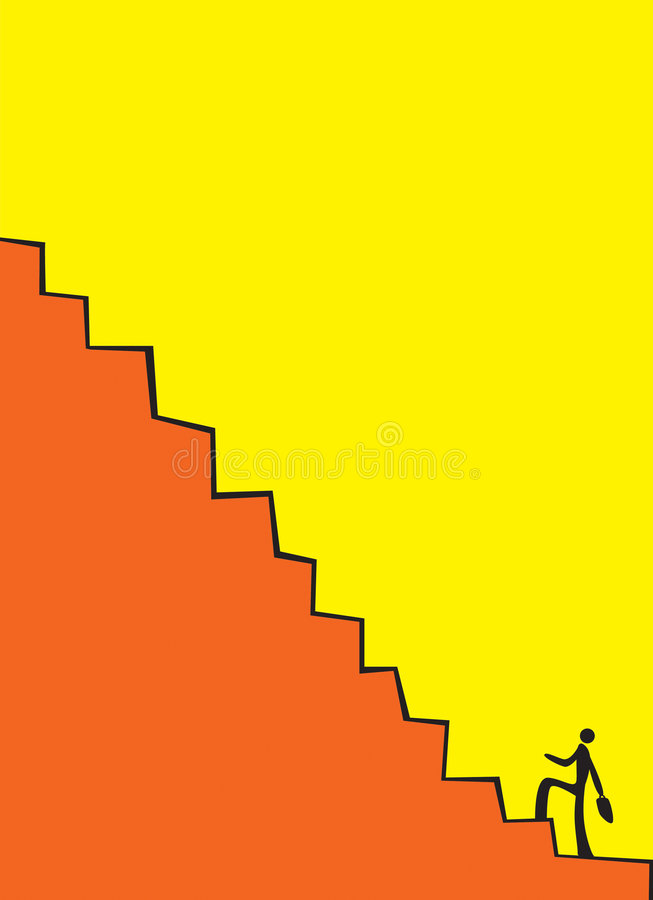 Businessman climbing the stair royalty free stock photo