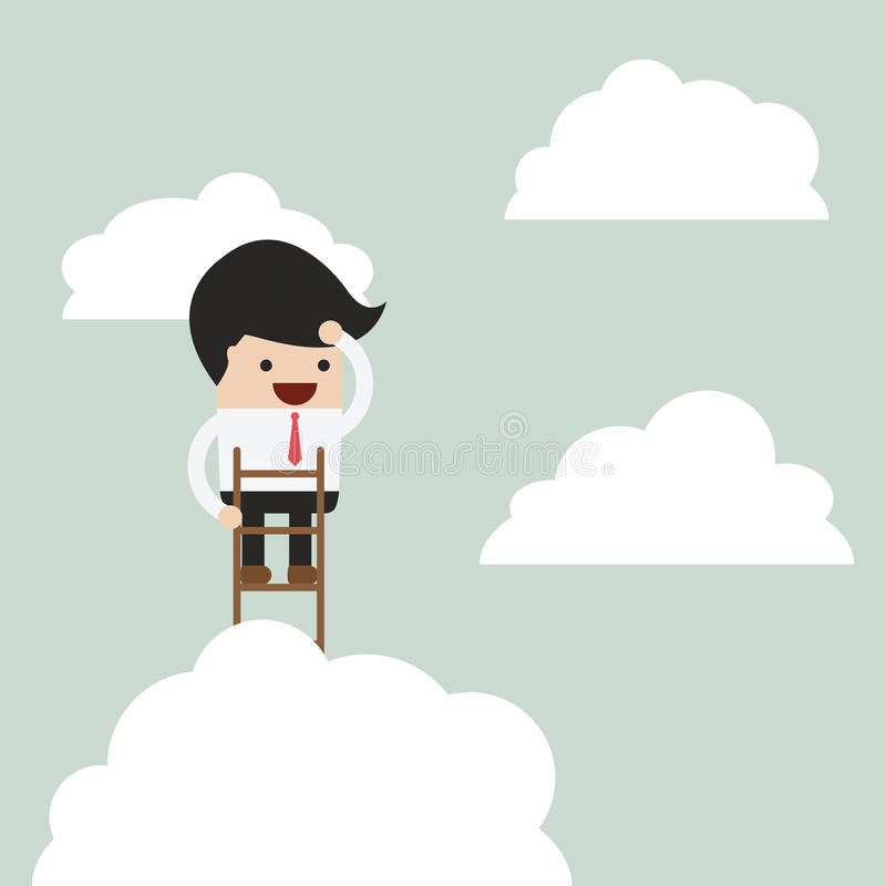 Businessman climbing up a ladder to above the clouds and looking royalty free illustration