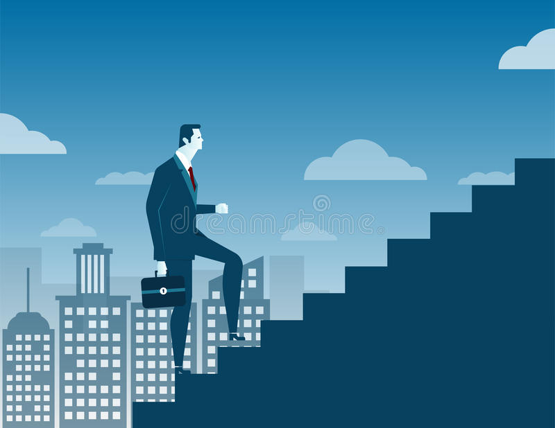 Businessman climbing up staircase concept on city background stock illustration