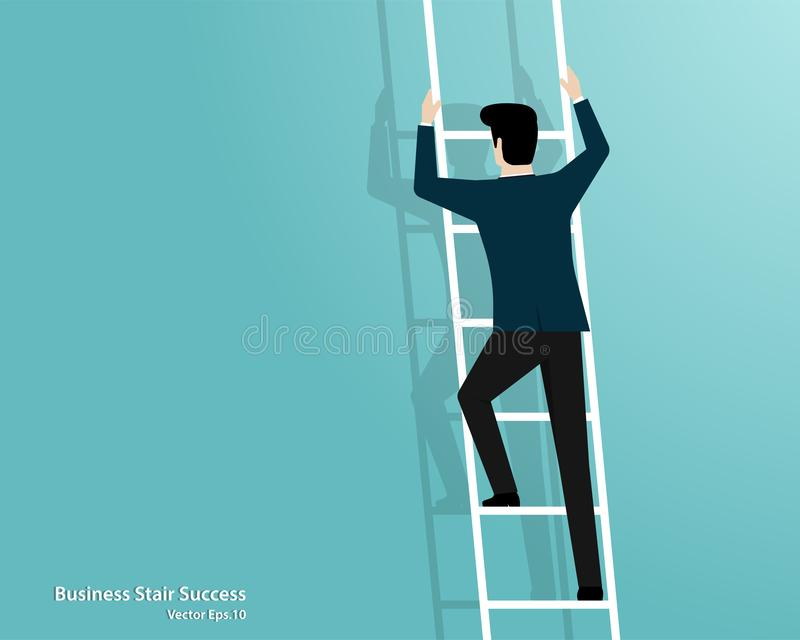 Businessman climbing up stairs to top of target vector illustration