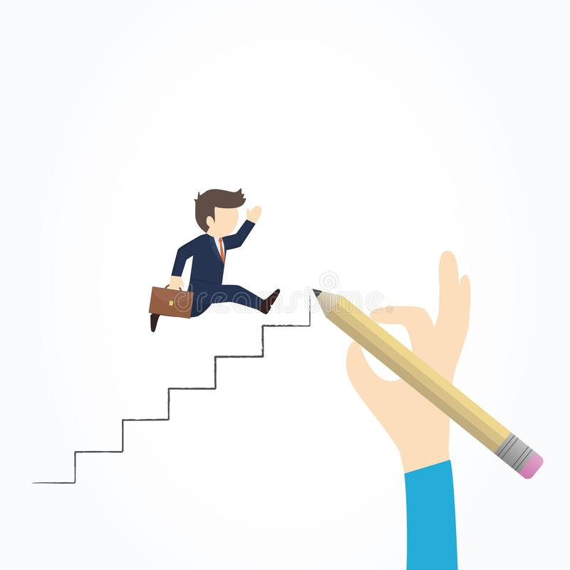 Businessman climbs the ladder of success stock illustration