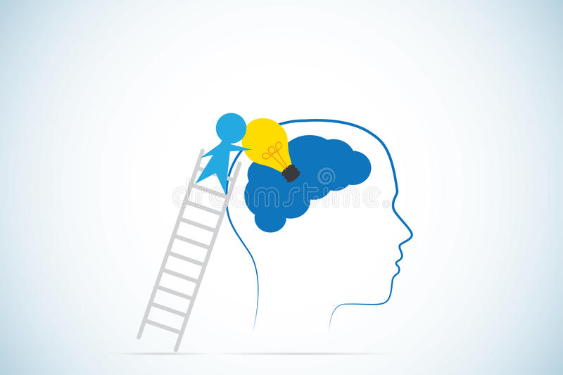 Businessman climbs ladder to inserts light bulb into brain, idea and business concept stock illustration