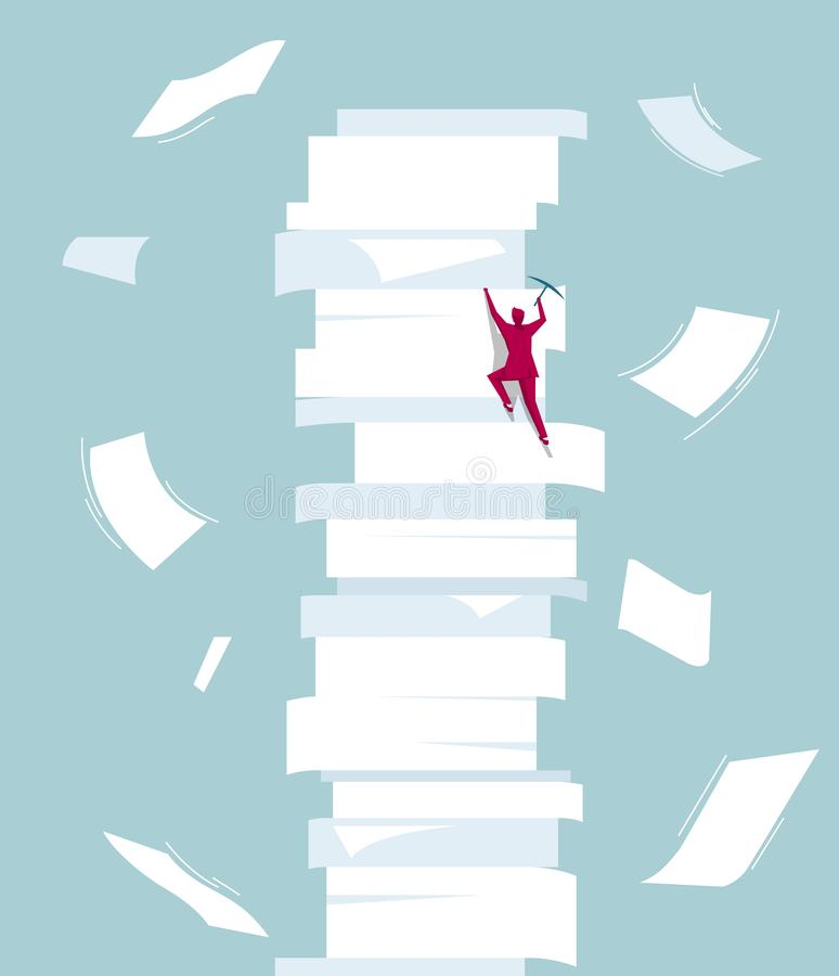 Businessman climbs a pile of documents. Isolated on blue background stock illustration