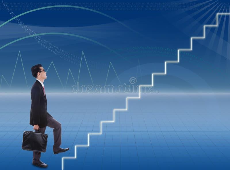 Businessman climbs stairways stock photo
