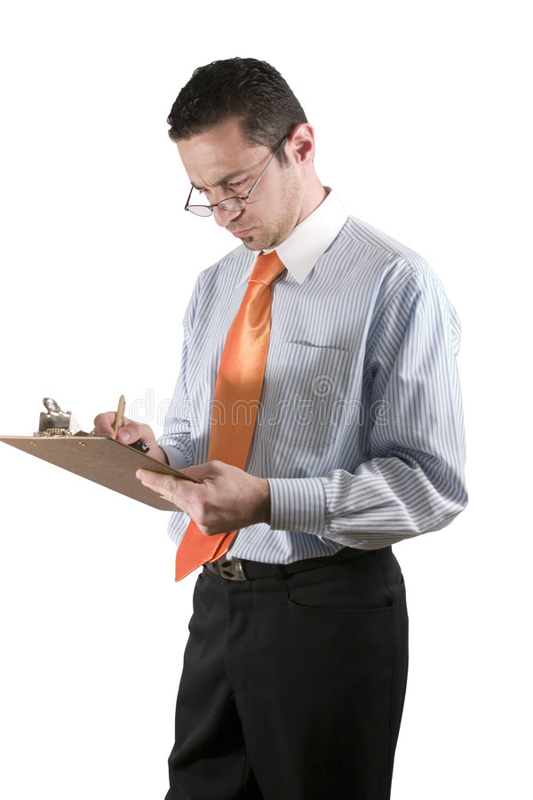 Businessman with clipboard on hand stock photography