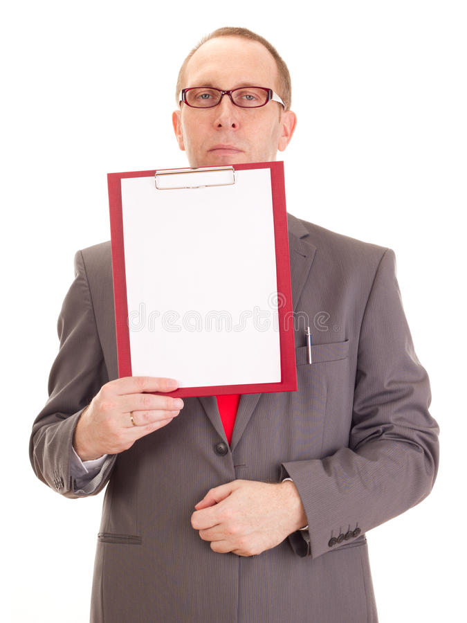 Businessman with clipboard. In his hands stock photos