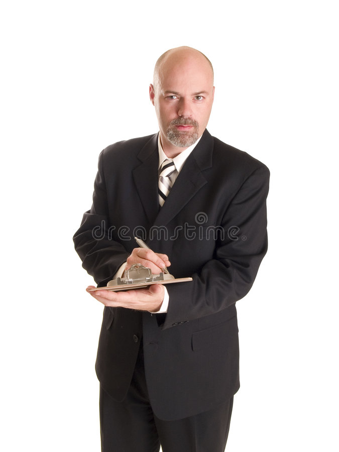 Businessman clipboard notes royalty free stock photo