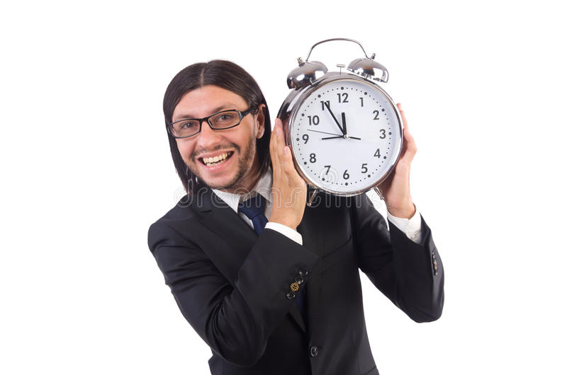 Businessman with clock isolated. On white stock photo