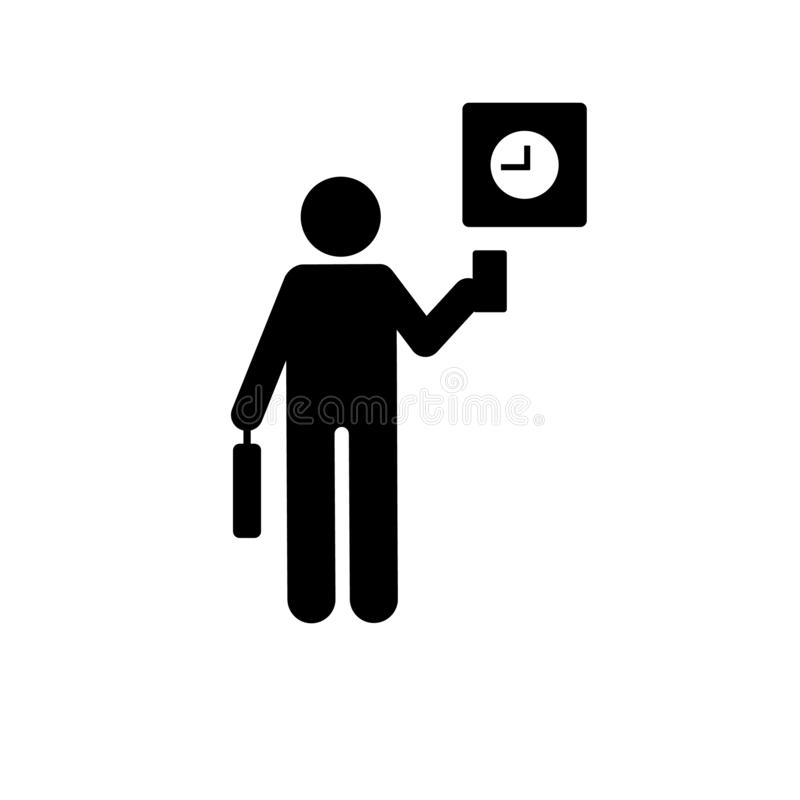 Businessman, clock, work, card, show icon. Element of businessman pictogram icon. Premium quality graphic design icon. Signs and royalty free illustration