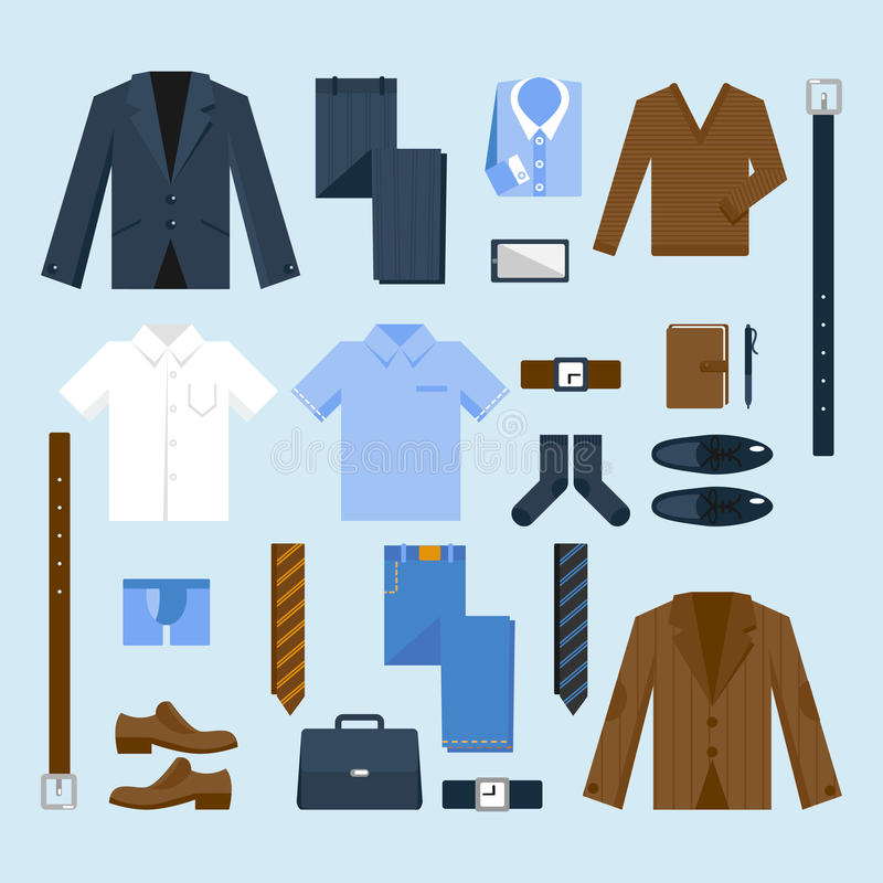 Businessman clothes icons set royalty free illustration