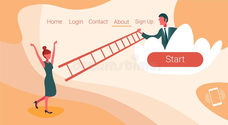 Businessman on cloud holding ladder stairs woman coworker climbing up couple team working cooperation concept horizontal. Copy space flat vector illustration stock illustration