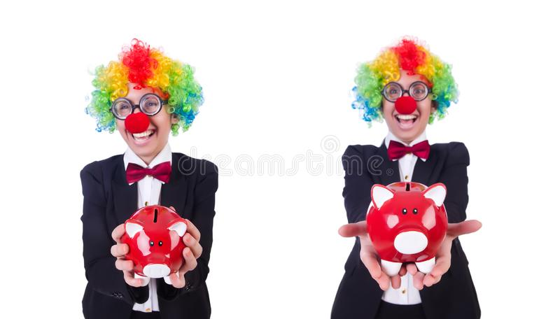Businessman clown isolated on white stock photography