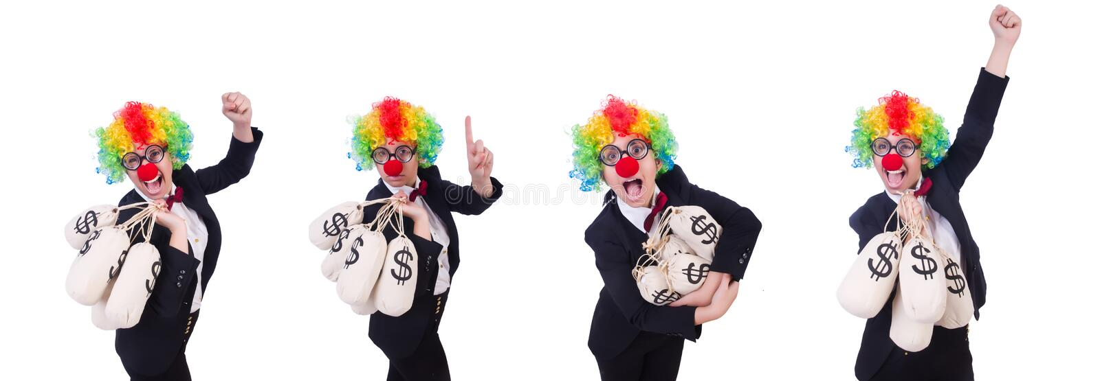 Businessman clown isolated on white royalty free stock images