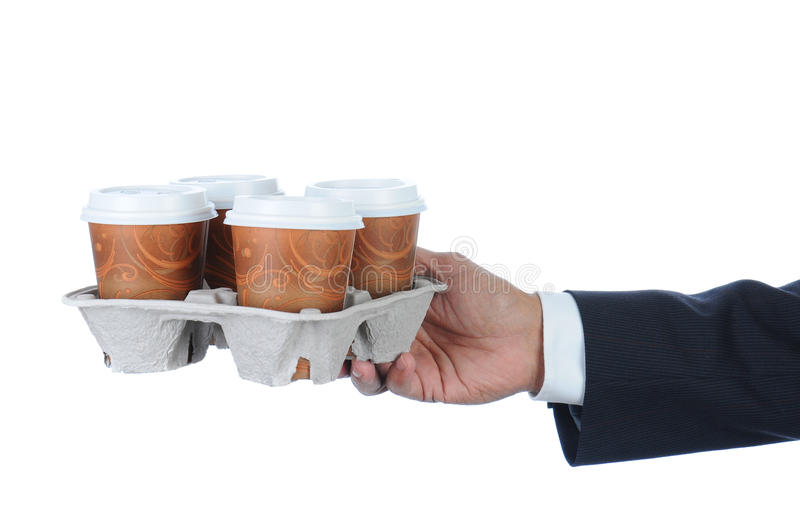 Businessman with coffee tray stock photos