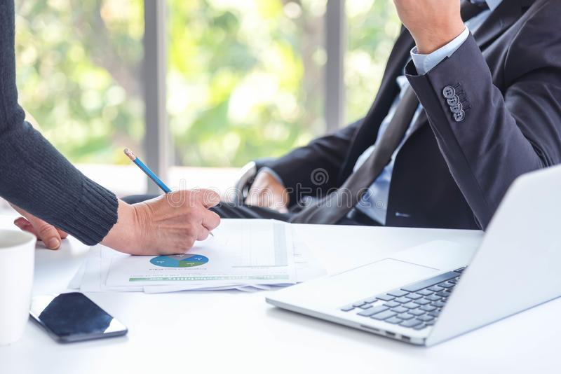 Businessman and colleague having a discussion for sale or new project. Manager discuss new idea for next quarter of business royalty free stock photos
